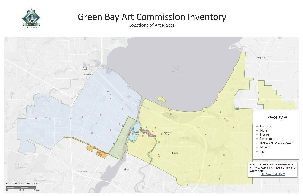Map of public art located in Green Bay