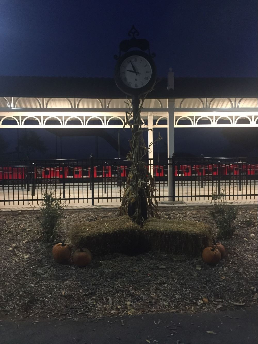 Train clock with fall decorations