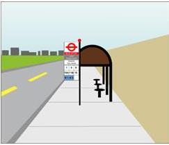 Diagram of a shelter at a bus stop